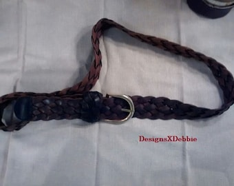 """vintage, WOVEN LEATHER BELT, men, menswear 46"""", accessories, clothing, belt, leather, brown, woven"""