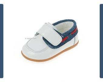 Moccassins Leather denim baby boy shoes Velcro shoes toddler wedding shoes boy baptism shoes navy Unique handmade loafers size 3 4 5 6 US EU