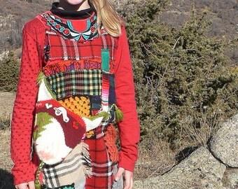 robe féerique et ethnique pour fillette en patchwork de laine arc en ciel