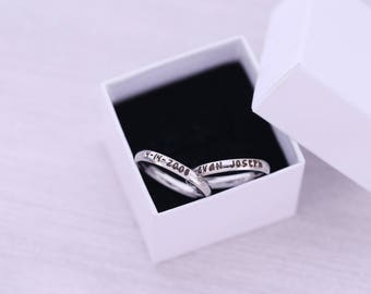 Set of 2 - Engraved Mother's Ring - Stainless Steel Stacking Ring - 3mm - Engraved Jewelry - Engraved Ring - Wedding Ring