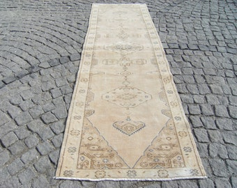 Muted_Color  Anatolian  Turkish  OUSHAK  Runner  Carpet  Rug  33,4'' X  109,4'' inches
