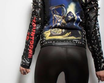 Judas christ Megadeth count down to extinction jacket heavy metal spike studded Death image med