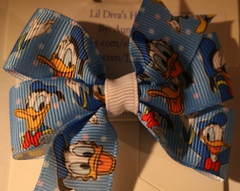 Donald Duck Hair Bow, Donald Duck Bow, Girls Donald Duck Bow, Girls Donald Duck Hair Bow, Duck Hair Bow