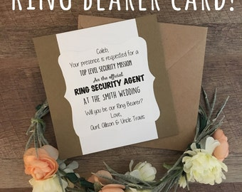 Ring bearer card! Will you be our Ring Bearer? Kraft card with envelope! Ring security! FREE personalization!