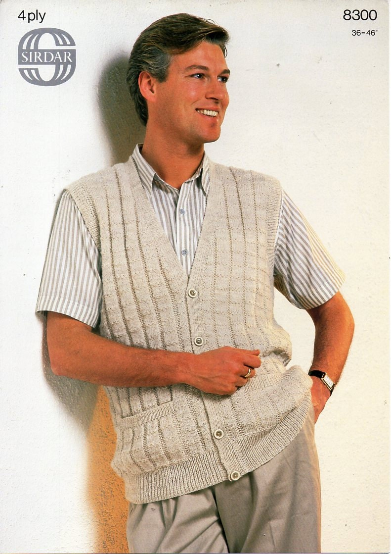 Mens 4ply waistcoat knitting pattern pdf ribbed vest with pockets this is a digital file bankloansurffo Gallery