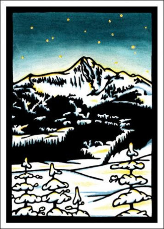 Mountain Night - Single Blank Sarah Angst Greeting Card - Let's Go Skiing