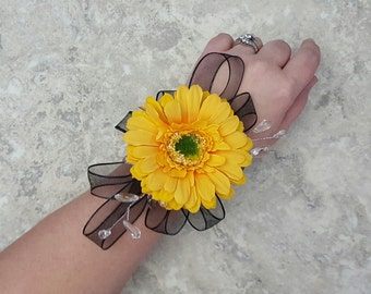 Yellow Gerbera Daisy, Crystals and Wired Ribbon Accent LACE Wrist Corsages & BOX - MATCHING Boutonnieres!