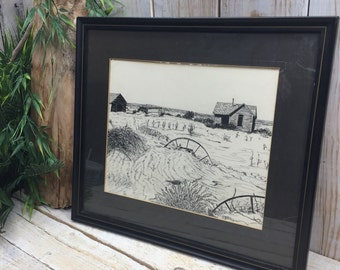 Landscape Drawing / Oklahoma Art / Vintage 1939 / Black and White / Line Drawing / OKC home portrait, house drawing, field, barn, hay field