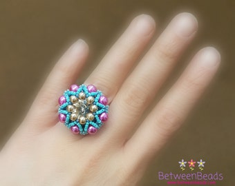 Pearl Ring, Beaded Ring, Crystal Colorful Ring, Adjustable Ring, Big Large Ring, Multi color Summer Ring, Multi Size Ring, Crystal Beads