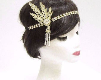 Gold White 1920s Flapper Headpiece Vintage Great Gatsby Daisy Headband 30s 2855
