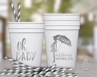 Baby Shower Cups | Personalized Plastic Cup | Monogram Cups | Oh Baby Party Favor Cups | Party Cups | social graces and Co.