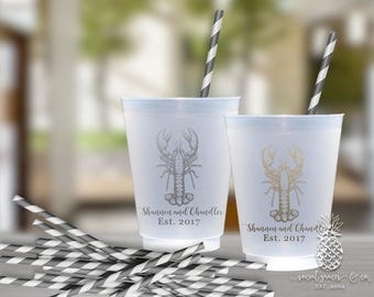 Lobster Party Cups | Custom Frosted Cup | Party Cups | Personalized Plastic Cups | Low Country Boil Wedding Cups | social graces Co.