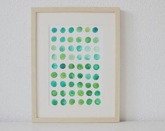 Green, original, watercolour, 24x34cm
