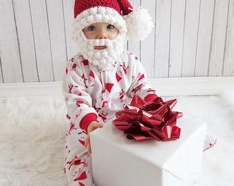 Santa Hat with Bobble Beard, Newborn Santa Hat and Beard, Baby Santa Hat, Bearded Santa Hat, Child Santa Hat with Beard, Adult Santa Hat
