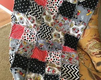Mickey, Minnie, & Pluto Flannel Rag Quilt