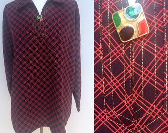 Vintage 90s Top, 60s Top, Red Checked Top, Black Top, 60s Button, Blouse, Tunic Top, Retro, Checked Blouse, Checked Shirt, Size 12, Medium