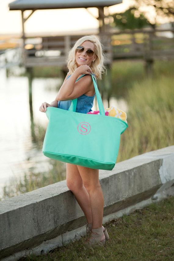 Monogrammed Tote Personalized Beach Bag Large Tote Bag Mint Green Tote Bag Personalized Gifts Weddings Bridesmaids Gifts Highway12Designs