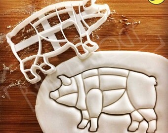 Pig cookie cutter | Butcher's guide to pork cuts | other meat chart available | Bakerlogy