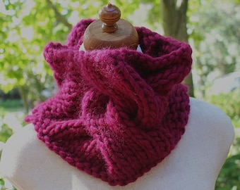 Mulberry Cable Cowl. Chunky Infinity Cowl. Handknitted. Cable Neckwarmer. Cable Snood. Giant Cable. Mulberry Infinity Scarf. Chunky & Funky.