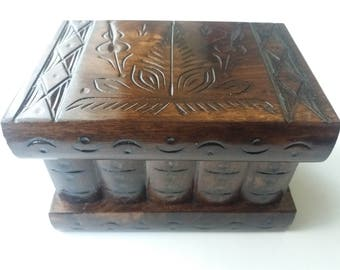 New beautiful special brown with brown carving handmade wooden puzzle box,secret compartment inside ,magic jewelry storage box,brain teaser