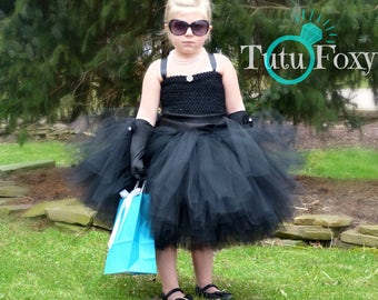 Black tutu dress, black flower girl tutu dress, Audrey Hepburn tutu dress, Breakfast at Tiffanys costume, breakfast at Tiffanys tutu dress