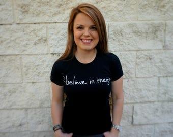 I believe in magic black handwriting graphic t-shirt