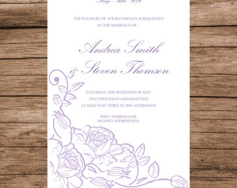 Printable Wedding Invitation Template, Lavender Roses Invitation Card, INSTANT DOWNLOAD, Editable Text & Colors, 5x7