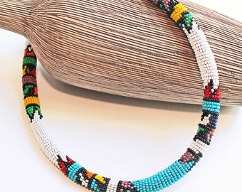 Superb 1960'S, Vintage Native American, Seed Beaded Rope Choker, Necklace