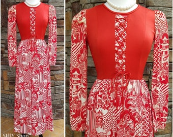 Full length Asian patterned scarlet red and cream lace up front maxi dress - large