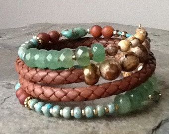 Jade, Turquoise, Sandalwood and Brown Leather Memory Wire Wrap Bracelet