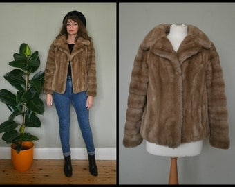 Cute Vintage 1960's St Michael Faux Fur Cropped Jacket Size S/M