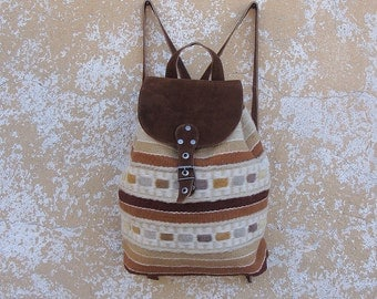 Ladies brown suede leather backpack - handmade of unique handwoven wool fabric - unique boho chic brown backpack