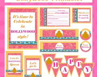 Bollywood Bling Printable Party Pack - Kids party invitation, bag tags, cake toppers, bottle labels, bunting & signage - Digital download