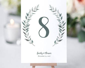 Wedding Table Numbers template rustic printable numbers | Leaves wreath | Royal Gardens | 4x6 and 5x7 numbers Editable printable