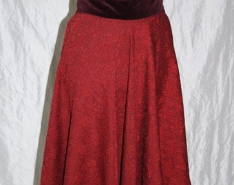 Red Leafs circle skirt - knee length - size 38