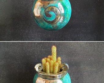 raku pottery planter pot, hanging planter pot, ceramic succulent pot, ceramic planter pot, witches cauldron pot, cactus pot, indoor planter