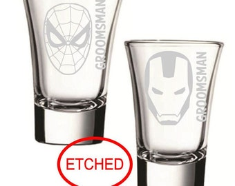 Bachelor Party, Etched Custom Shot Glasses,Groomsman Custom Shot Glasses, Superhero Shot Glasses, Wedding Party Gifts