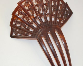ANTIQUE Faux Tortoiseshell Celluloid Hair COMB Vintage Hair Accessory Carved Design Victorian to Art Deco Period