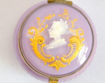 Antique Bohemian Art Glass Patch Box Jar Lavender Opalescent Glass Moser Enamel Hand Decorated Miniature Vanity Box 1800s Victorian Glass