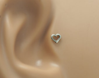 Cartilage Heart Stud - Helix Stud 16 Gauge - Cartilage Earring - Gold Helix Piercing - 16g Tragus Stud - Heart Helix Stud - Helix Earring