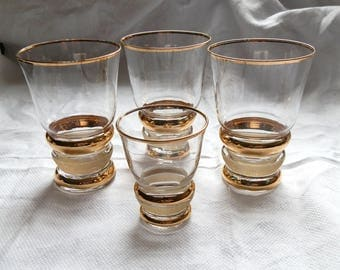 Four 1960's Gold Rim and Sugar Frosted Glasses - 3 Tumblers and 1 Shot / Sherry Glass