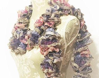 Crochet Ruffle Scarf, Lavender Ruffle Scarf, Handmade Scarf, Crochet Scarf, Pink Scarf, Fashion Scarf, Ruffled Scarf, Scarf, Sashay Scarf