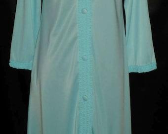 Vintage Aqua Blue Gossard Loungewear Nylon Robe / Housecoat / Peignoir - Petite 34