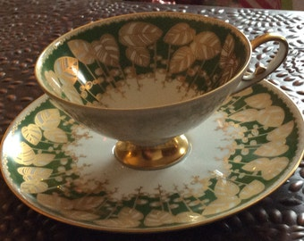 Vintage Alboth and Kaiser Fine Bone China Made in Bavaria Green and Gold