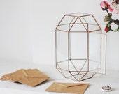 Wedding Card Box, Wishing Well Box, Guest Book Alternative, Geometric Glass Card Box, Conservatory Envelope Holder, Silver Reception Decor