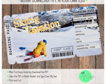 Printable Ticket for a Skiing Vacation Boarding Pass, Customizable Template, Digital File - You Fill and Print