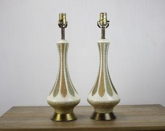 Vintage - Mid Century Modern - Table Lamp Set - Pair - Quartite Creative Corp - Geometric - 1960s - Brass Base - Chalkware - Danish - Atomic