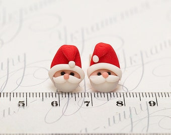 Christmas earrings Studs. Xmas jewelry winter. Christmas gift idea. Santa earrings post. Holiday earrings. Polymer clay jewelry. Xmas gift.