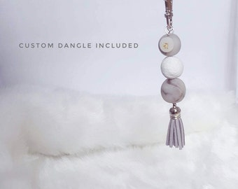 Marbled Clay bead and tassel keychain