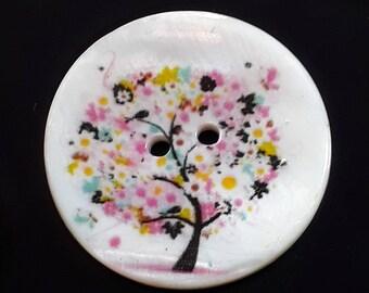 1pc Multicolour Tree Buttons - 30mm Buttons - Flowering Tree - Picture Buttons - Sewing Buttons - Shell Buttons - Scrapbook - B65040